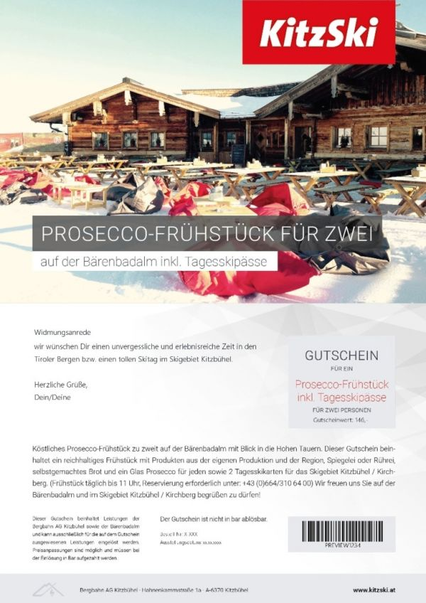 PROSECCO BREAKFAST FOR TWO incl. day ski passes
