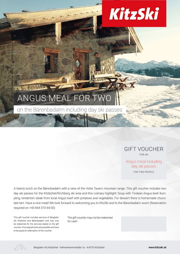 ANGUS MEAL FOR TWO incl. day ski passes