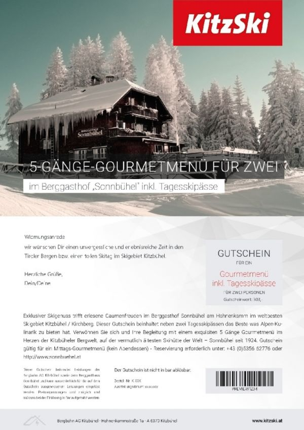 FIVE-COURSE GOURMET MEAL incl. day ski passes