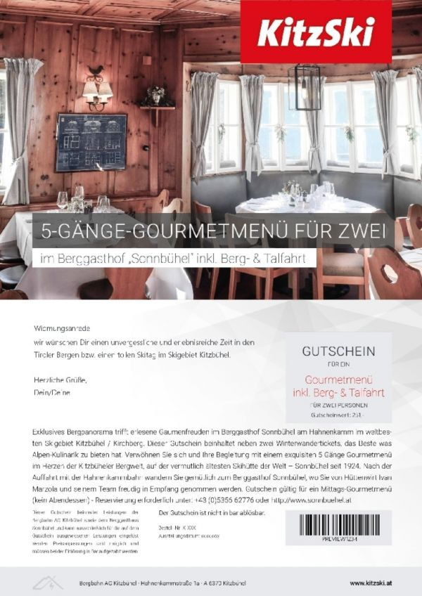 FIVE-COURSE GOURMET MEAL incl. journey up and down the mountain